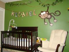 Monkey themed Baby Room - Interior Paint Color Ideas Check more at http://www.chulaniphotography.com/monkey-themed-baby-room/