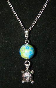 """Handmade Multi Color Glass Silver Sea Turtle Pendant 16"""" Silver Necklace Charm"""