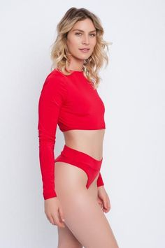 Knox Long Sleeve Crop-Fire Red
