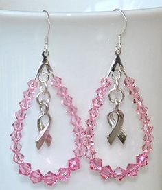 Teardrop Hoop Swarovski Breast Cancer Awareness Earrings - Made in Pink or any color you choose -  Available for immediate shipment - $15