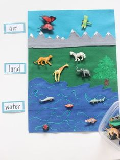 toy activities Ive had felt on the brain lately! I really like making kid activities from felt because the look super cute, its easy to work with and they last. So today I made a land, air, water fe Montessori Preschool, Preschool Science, Preschool Crafts, Zoo Crafts, Water Animals Preschool, Preschool Social Studies, Montessori Trays, Life Science, Toddler Learning Activities