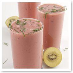 Verfrissende smoothie met kiwi en watermeloen.
