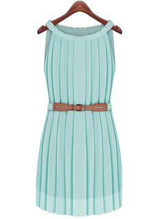 Green Sleeveless Pleated Belt Dress - Sheinside.com