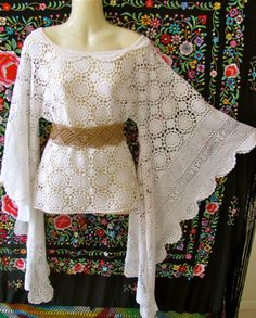 -Vintage White 60s Crochet Lace Vtg Draped Angel Sleeve Top
