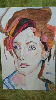 Acuarela. Watercolor. Mujer. Woman. Mirando la nada pensando en todo. Looking at nothing thinking about everything
