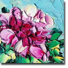 Floral Original Oil Painting Palette Knife Painting ART B. Sasik Original Painting