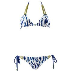 Acqua Bazaar Swimwear Bermudes Multicolour Printed Triangle Bikini ($63) ❤ liked on Polyvore featuring swimwear, bikinis, animal print, swim suits, bikini swimsuit, strappy bikini, triangle bathing suits and animal print swimsuit