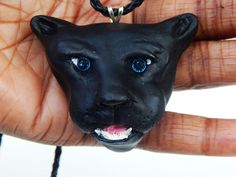 Black Panther Necklace Swarovski Mens necklace Panther Jewelry Clay Panther Pendant Handmade Animal Jewelry Hip Hop Necklace  Cat necklaces