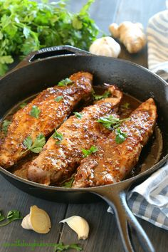 This Easy One Pan Sweet Ginger Glazed Pork Tenderloin is perfectly tender and juicy, cooked to perfection with a sweet ginger glaze! Made from basic ingredients you probably already have in your kitch Oven Recipes, Pork Recipes, Dinner Recipes, Cooking Recipes, Recipies, Kid Recipes, Chicken Recipes, Healthy Foods To Eat, Healthy Recipes