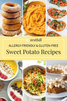 These are a round-up of sweet potato recipes. From sweet potato side dishes to desserts or even main dishes. These dishes are not only delicious and colorful but also allergy-friendly and gluten-free. #allergyfriendly #sweetpotato #glutenfree #sidedish #dessert #snack Sweet Potato Side Dish, Crispy Sweet Potato, Sweet Potato Toast, Paleo Sweet Potato, Mashed Sweet Potatoes, Sweet Potato Recipes, Dairy Free Snacks, Healthy Gluten Free Recipes, Best Brunch Recipes