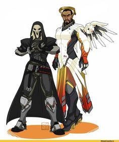 Reaper (Overwatch),Overwatch,Blizzard,Blizzard Entertainment,фэндомы,Mercy (Overwatch),Overwatch art