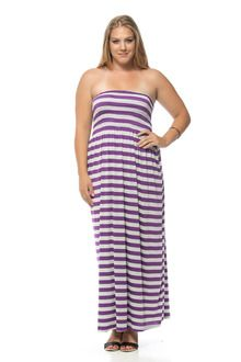 Purple/Off-White Striped Banded Long Plus Size Maxi Dress