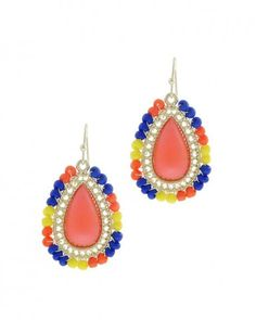 Blue and Orange Beaded Earrings | HotOnTrend.com