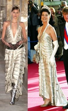 Princess Caroline - Pre-wedding dinner for Felipe, Prince of Asturias to Letizia Ortiz, Madrid, May 2004. (Spring/Summer 2004 Haute Couture).