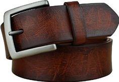 Bullko Mens Full Grain Cow Leather Belt Red Brown 30-32inch