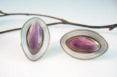 Sterling Enamel Norway Vintage Earrings Aksel Holmsen Lavender Guilloché Modernist 1960s Jewelry
