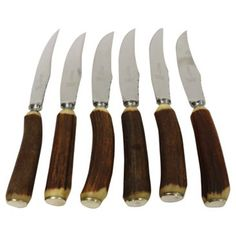 Check out this item at One Kings Lane! Horn-Handled Sheffield Steak Knives, S/6