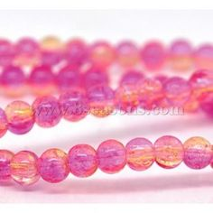 "Wholesale - Champagne & Pink Crackle Glass Round Beads 4mm, 31-1/2"",sold per pack of 5 strands"