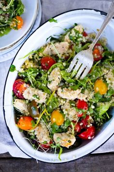 Zesty Quinoa Salad with Chicken, Chickpeas, Tomatoes and Mint // Feasting at Home