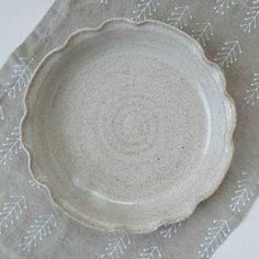 Wedding Registry Gift - Speckled White Brie Baker - Scalloped Edge Baking Dish - Appetizer Dish /// Jan Fairhurst Pottery