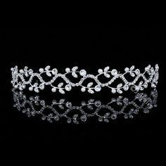 Bridal Floral Vines Rhinestone Crystal Pearl Prom Wedding Tiara Headband 7497 #Headband