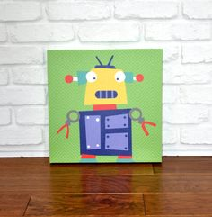 Robots Rule Elliot  Canvas Wall Art by VickyBaroneDesigns on Etsy, $69.00