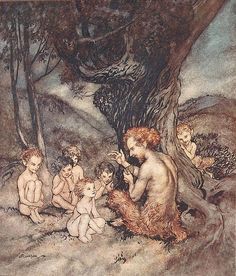 """Pan (frontispiece). """"The Springtide of Life"""" (1918) illustrated by Arthur Rackham"""
