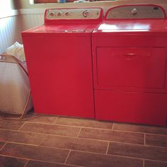 Painted washer and dryer, laundry room, bathroom . Red washer and dryer