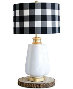 Studio Ceramic Table Lamp with Linen Checked Shade - White Space Furniture, Outdoor Furniture, Table Lamp Sets, Ceramic Table Lamps, Eclectic Style, Light Table, Lampshades, Lighting, Metal