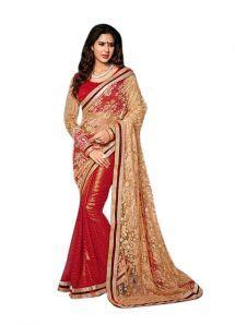 Net & Georgette Red & Chiku Saree|Saree|Ethnic Wear