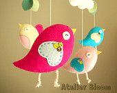 "Baby crib mobile, Bird mobile, girl mobile ""Bird - pink"""