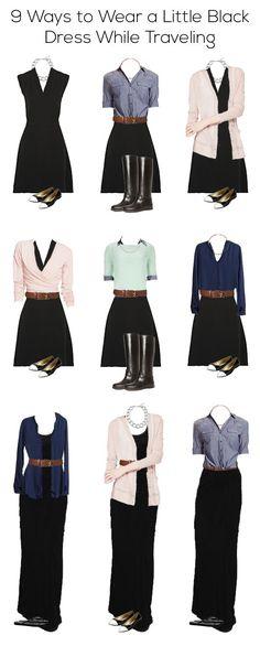 9 maneiras de usar vestido preto  com modéstia. ----------EmilyStyle: 9 Ways to Wear a Little Black Dress While Traveling: