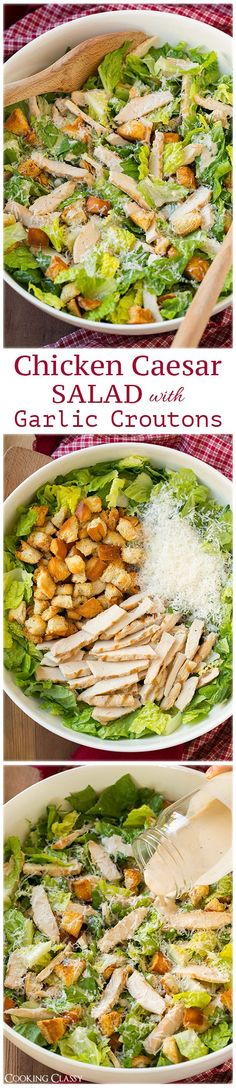 Chicken Caesar Salad Recipe with Garlic Croutons (and Light Caesar Dressing)
