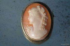 Vintage 900 Silver Hand Carved Left Facing Shell Cameo Pendant Brooch Pin