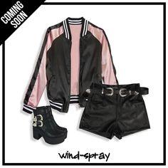 #LiveToRock #AW17 ⚡ #OUTFIT #TENDENCIA #FridayLook - Campera Bomber Raso Reversible Pink #ComingSoon - Short Skater Black Simil Cuero - Cinto Texano - Botas Texanas