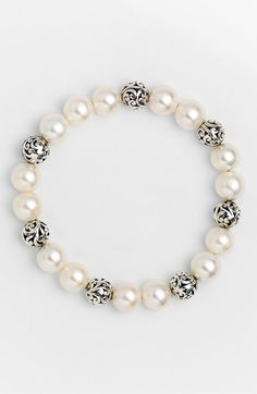 'Beach' Pearl Stretch Bracelet, Main, color, Silver/ Mother Of Pearl