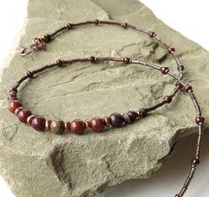 Dark red necklace  Jasper gemstones & Picasso Czech by dalystudios