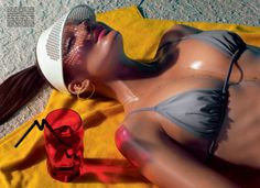 Eniko Mihalik for Vogue Italia.  Photography by Miles Aldridge.  #swimwear #editorial