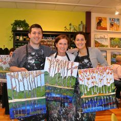 This was peak foliage weekend in New England — and at The Paint Bar! We love everyone's Autumn Birch Tree paintings.