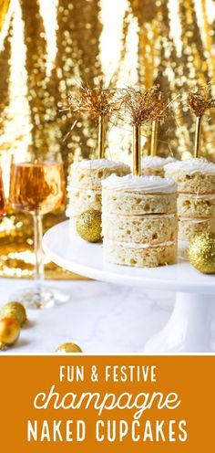These amazing hen party cakes, look awesome! It's glitzy and glamorous and oh-so-fresh! It's New Year celebration time soon, and I know you will just LOVE the idea of these triple-layer, naked Champagne Cupcakes! With a bit of sparkle, and a gold straw on top they look absolutely fabulous! Grab the easy recipe now!
