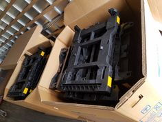 HTS Systems' Hand truck Sentry System main frames ready for assembly. HTS Systems' nylon polymer injection components provided by Echo Molding, Inc. of Union, New Jersey.