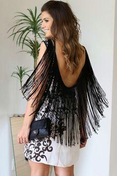 Fashion Dresses : Vestido estampado con flecos