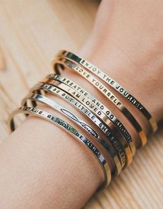 What's your mantra? Mantra Band Bracelets available in Yellow Gold, Rose Gold and Silver. Available at Twisted Goods!