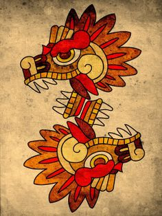 Like those simple shape/line and colorons of the aztec arts Aztec Tattoo Designs, Aztec Designs, Mayan Tattoos, Motifs Aztèques, Aztec Symbols, Aztec Culture, Aztec Warrior, Mexico Art, Aztec Art