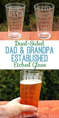 Dual-Sided Dad & Grandpa Established Etched Glass | Where The Smiles Have Been.  This is such a great idea for all the dads and grandpas out there, especially for Father's Day!  You could even change this up for moms/grandmas, aunts, uncles, brothers, sisters, etc.  Such a thoughtful, personalized gift!