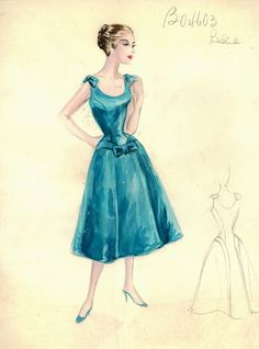 Illustration - Bergdorf Goodman Archives -  Coctail & Evening Dresses, 1950-1969