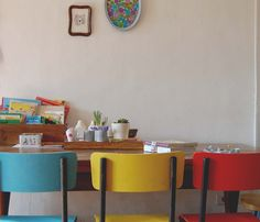 simple chairs in bright colors