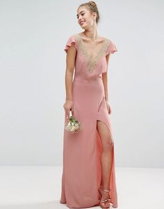 pink wedding dress, pink dress for wedding, Lace Appliques Delicate Pink Strap Maxi Dress #fashion #dress