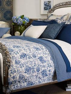 Blue and WHITE. Master Bedroom. With great attention to detail including the linens and pillows