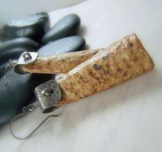 Pottery Earrings with Hammered Sterling Silver  by WillowCreekJewelry